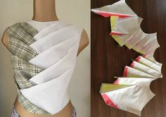 36 Ideas Origami Fashion Fabric Manipulation Pattern For 2019 Blouse Patterns, Clothing Patterns, Blouse Designs, Sewing Patterns, Fashion Sewing, Fashion Fabric, Diy Fashion, Origami Fashion, Sewing Clothes