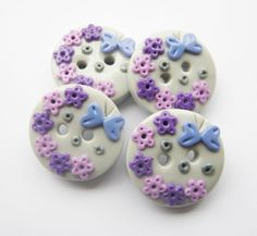 Purple flowers - set of 4 polymer clay