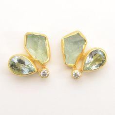 "Petra Class at Patina Gallery. Earrings, Aqua Drop & Crystal Earrings with 3mm Diamond, Post, .38""x.69"", $3000"