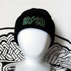 Irish Rock n Roll Stocking Cap Winter Hat Embroidery Green and Orange | celtique_creations - Accessories on ArtFire