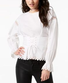 5712e6b4247c9 GUESS Erin Lace-Up Corset Top