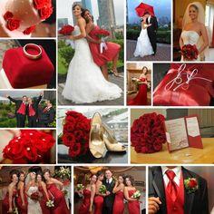 Decoración para bodas de color rojo.