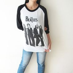 Hey, I found this really awesome Etsy listing at http://www.etsy.com/listing/126513413/the-beatles-baseball-t-shirt-raglan-tee