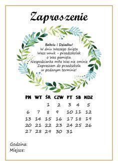 Zaproszenie na Dzień Babci i Dziadka - kartka z kalendarza - Pani Monia Family Day, Gifts For Family, Diy And Crafts, Crafts For Kids, Kids Menu, Grandparents Day, Mother And Father, Travel With Kids, Diy Cards