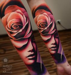 Abstract Rose & Face Forearm Tattoo | Best tattoo design ideas