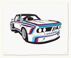 "Print of BMW 3.0 CSL Race Car 20"" x 16"" $50.00"