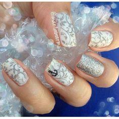 White silver glitter filigree square nail art