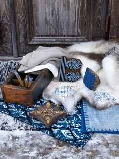 La firma sueca #Affari apuesta por azules en su nuevo catálogo #otoño/invierno 2014 #estilonordico #cojin