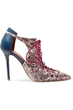 Malone Souliers - Montana Cutout Leather And Elaphe Pumps - Claret - IT