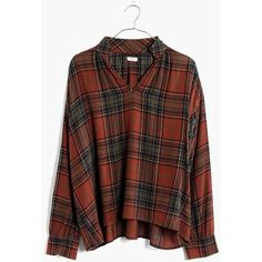 MADEWELL Highroad Popover Shirt in Brentford Plaid ($88) ❤ liked on Polyvore featuring tops, chestnut, ruched tops, madewell tops, cut loose shirt, loose fitting tops and brown shirts