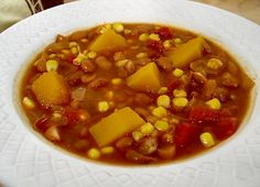 Winter Squash Stew with Pinto Beans and Corn