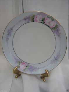 """SALE CHINA VINTAGE C&J BAVARIA PLATE 7"""" PINK AND LAVENDER ROSES SHABBY CHIC"""