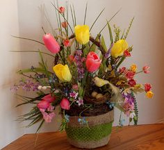 Wall Decor or Floral Spring Tulip Floral Arrangement in Moss Burlap Basket!  Mothers Day Gift