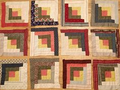 12 Gorgeous ANTIQUE c1880 Early Fabrics Log Cabin QUILT BLOCKS Sunshine & Shadow  Vintageblessings