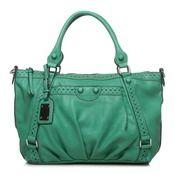 Green handbag with pretty details.