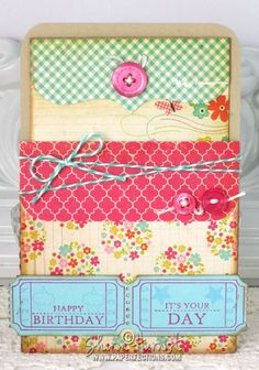 Pocket card using Gina K Designs Ticket Trio stamp set by Tami Mayberry and Silhouette Studio template.