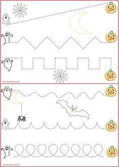 Schede pregrafismo percorsi: scarica le schede con i disegni di halloween perchè è importante che i bambini apprendano in modo divertente.