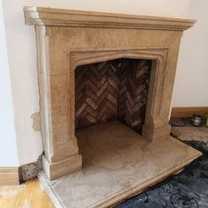 The Cambridge fireplace surround made in Ancaster Weatherbed limestone with herringbone chamber Stone Fireplace Surround, Natural Stone Fireplaces, Log Burner Living Room, Herringbone, Cambridge, Natural Stones, House, Home Decor, Decoration Home