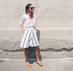 The Best Blogger Outfits of the Summer via @WhoWhatWear  On Bernstein: Nicholas Kirkwood Botalatto Leather Beya Loafer ($395); Reformation skirt.