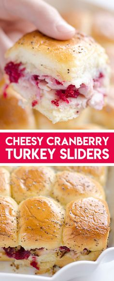 Cheesy Cranberry Turkey Baked Sliders are a quick 30 minute recipe to use up holiday leftovers! Hawaiian rolls are filled with cranberry sauce, turkey, Havarti cheese and topped with a savory butter sauce for an easy family friendly dinner. #LeftoverTurkeyRecipe #TurkeySliders #SliderRecipe