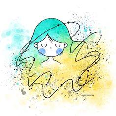 Cute Little Drawings, Art Drawings For Kids, Doodle Drawings, Colorful Drawings, Easy Drawings, Cute Doodle Art, Cute Art, Watercolor Illustration, Watercolor Art