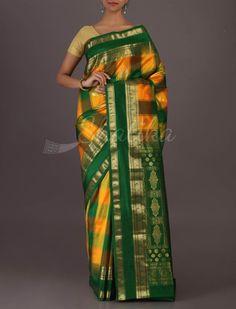 Sarika Checks-O-Stripes Auspicious Colored #BangaloreWeddingSilkSaree