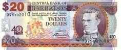 Banknote, Barbados, The Twenties, Baseball Cards, Flower, Coins, Flowers