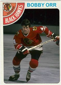 Orr Free Agent from the Boston Bruins Blackhawks Hockey, Hockey Goalie, Chicago Blackhawks, Chicago Chicago, Ice Hockey Players, Nhl Players, Hockey Cards, Baseball Cards, Bobby Orr