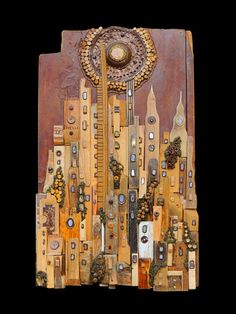 "#sun on metropolis, title ""Sunset on amaranth city"", recovered wood installation wall panel, see more on FB page https://www.facebook.com/pages/Silvia-Logi-Artworks/121475337893535?fref=ts"