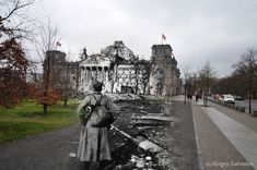 Old war photos imposed on modern day shots