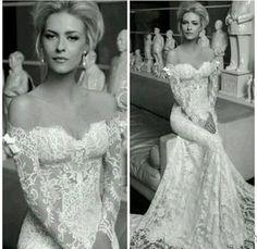 Fabulous Sexy Boho Lace Mermaid Beach Wedding Dresses Off Shoulder Long Sleeves Elegant Bridal Gowns Cheap Custom Made Vestidos De Noiva