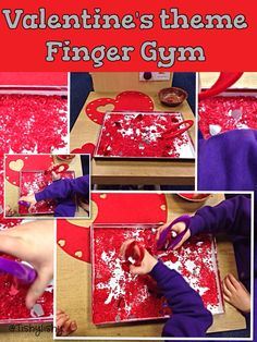 Valentine's theme Finger Gym. A race to get the most hearts.