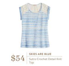 Stitch Fix April 2016 - Skies are Blue Sutro Crochet Detail knit blouse