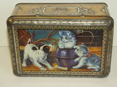 Vintage French Biscuit Tin MARSEILLE Dog & Kittens
