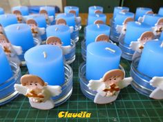 Boy Baptism Centerpieces, Baptism Party Decorations, Communion Centerpieces, Baptism Candle, Baptism Favors, Fiesta Mickey Mouse, Baby Shower Deco, First Communion Party, Baby Boy Baptism