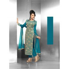 Fabfiza Aqua Velvet BrassoEmbroidered Designer Semistitched Straight Suit