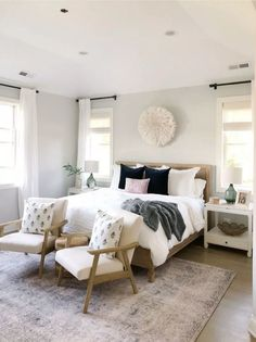 Master Bedroom Decor 2019 Bedroom with Benjamin Moore gray owl pottery barn bed vintage inspired rug white bedding linen drapes neutral decor The post Master Bedroom Decor 2019 appeared first on Curtains Diy. Master Bedroom Design, Home Decor Bedroom, Bedroom Ideas, Bedroom Designs, Warm Bedroom, Grey Wall Bedroom, Lux Bedroom, Bedroom Inspiration, Peaceful Bedroom