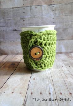 cute idea...Coffee cozy crochet mug warmer Cool Beans by TheSunshineStitch, $14.00