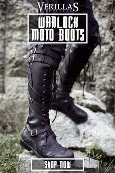 Warlock Moto Boots - Leather Boots - Ideas of Leather Boots - Warlock Moto Boots Verillas Moto Boots, Leather Boots, Combat Boots, Shoe Boots, Real Leather, Armor Boots, Leather Sandals, Riding Boots, Moda Medieval