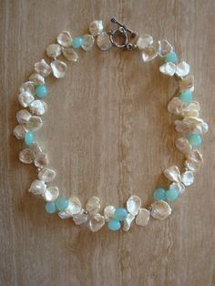 Keishi Pearl and Peruvian Opal Statement by DonnaCocciaCreations, $125.00