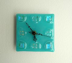 Tranquility Fused Glass Clock Turquoise with by FusedGlassRocks, $32.00