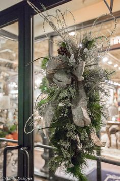 Holiday Door Swags- Hand Made one of a kind. Available at Linly Designs- Higland Park