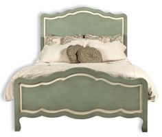 Seaside Cottage Bed available @ CoachBarn.com in Aquamist with White Trim boasts scalloped trim. #coachbarn #beds