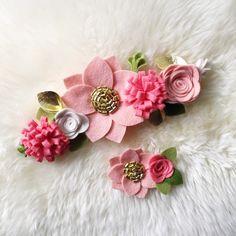 Corona de flor de fieltro / / Blush Coral venda oro / /