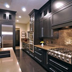 Backsplash and black cabinets