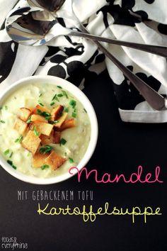 creamy vegan potato almond soup with crispy tofu bacon