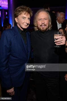 Barry Manilow and Barry Gibb Clive Davis pre-Grammy party.