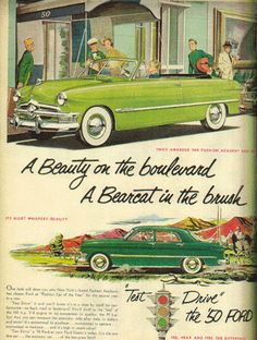 Vintage Ads 1950S | Vintage Ford automobile ads, 1950s - Found in Moms Basement