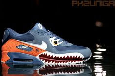 "THIS IS SO SICK!!!! I need one!!! Nike Air Max 90 ""Piranha"" Customs by Emilio Zuniga 