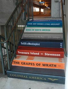 Stairs Painted Like Books See rustic wood railing at http://awoodrailing.com